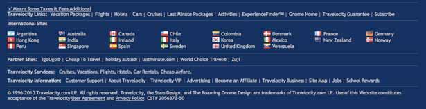 screenshot voetregel van travelocity