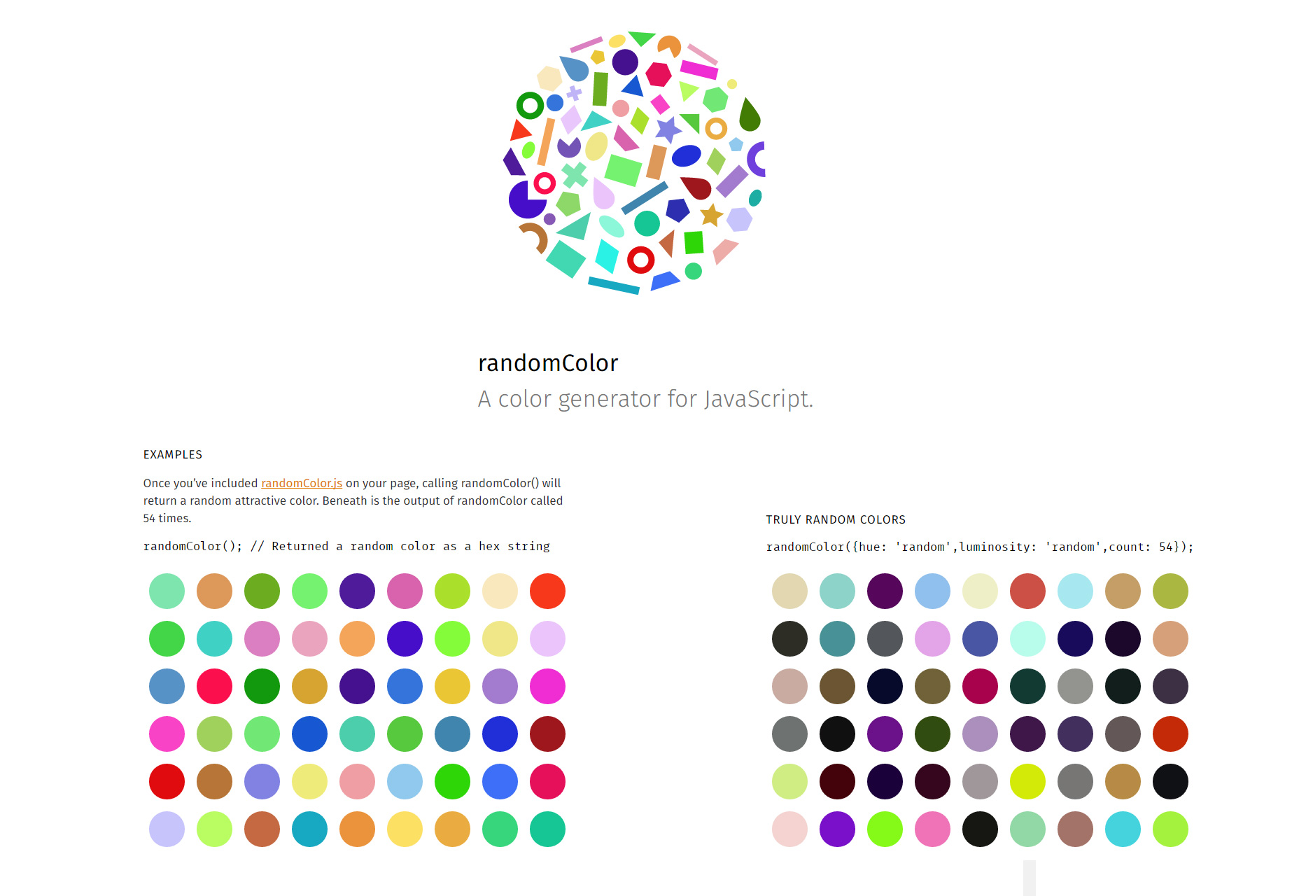 RandomColor.js: Cusomized Random Color Palette Generator
