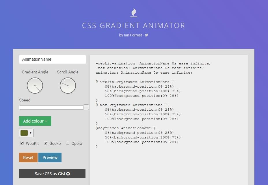 Animador de degradado de CSS