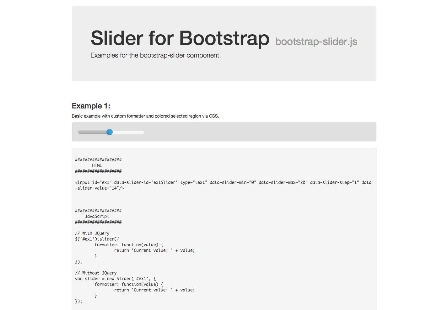 control deslizante para bootstrap