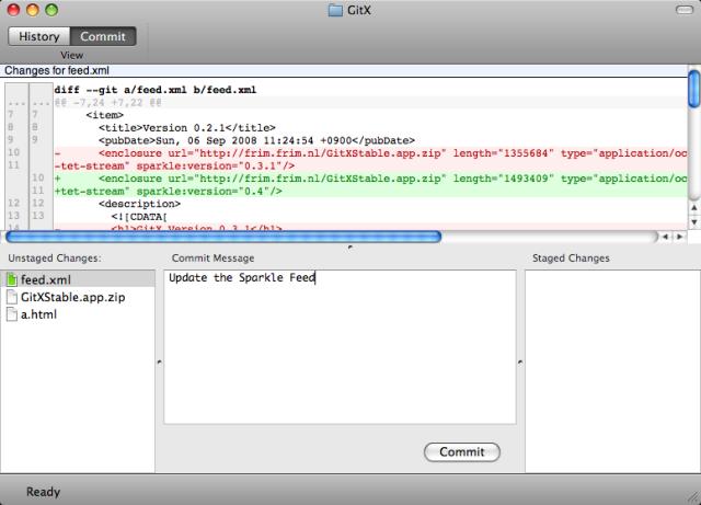 Captura de pantalla de GitX