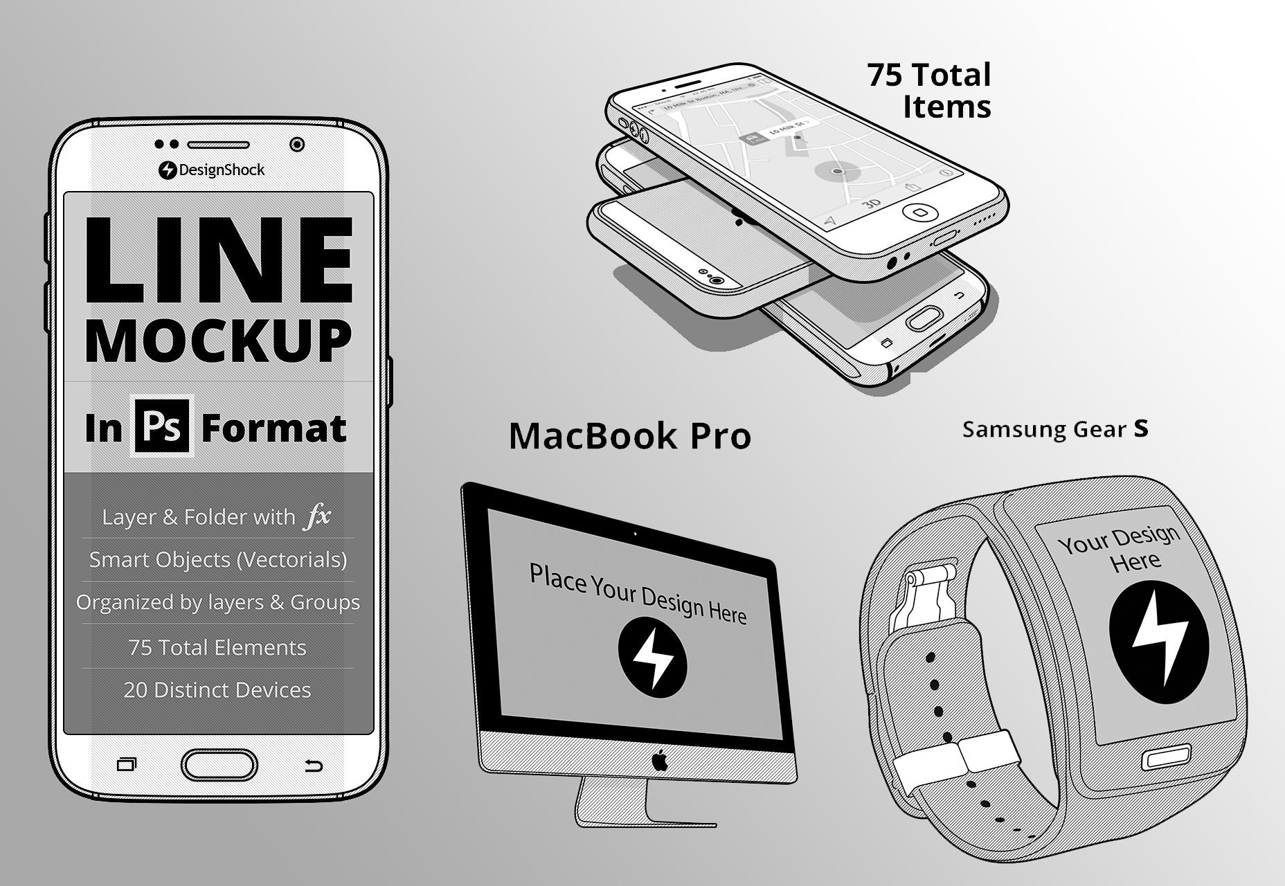 75 maquetas de línea de dispositivos de escritorio y dispositivos móviles