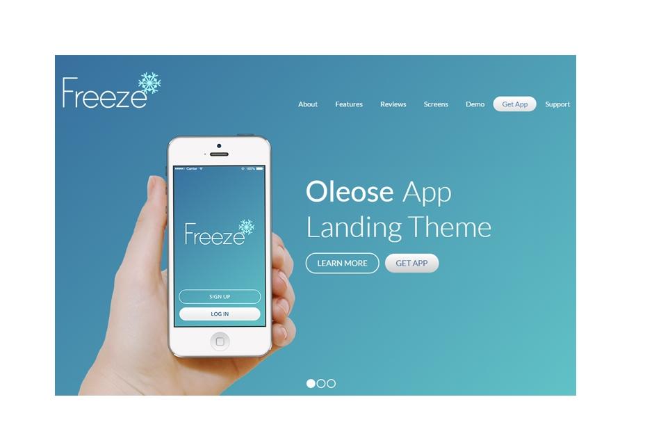 Oleose: Página de destino de la aplicación móvil