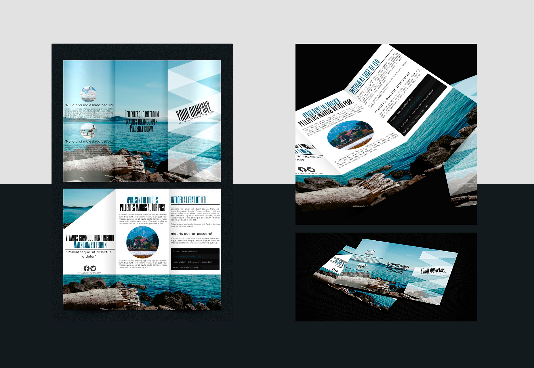 Toerisme-schemed Trifold Brochure PSD, INDD & Ai Template