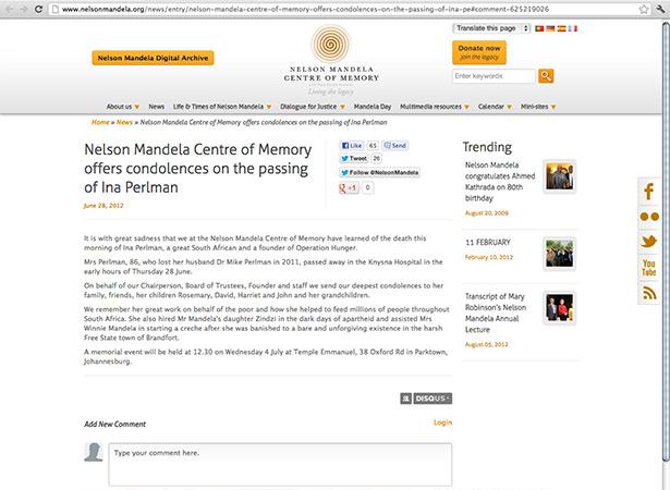Nelson Mandela article