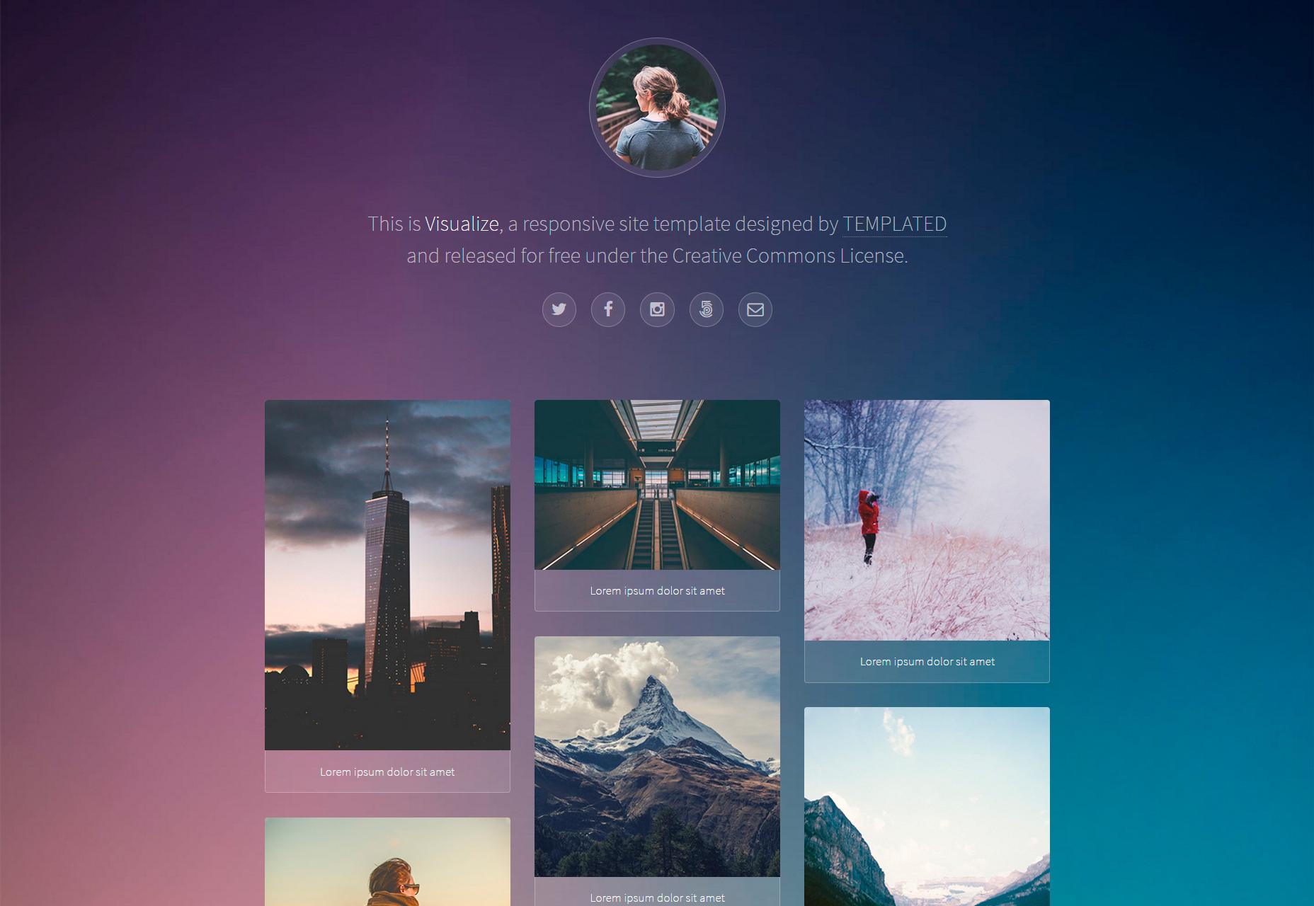 Visualizar: Plantilla de portafolio web agradable y receptiva
