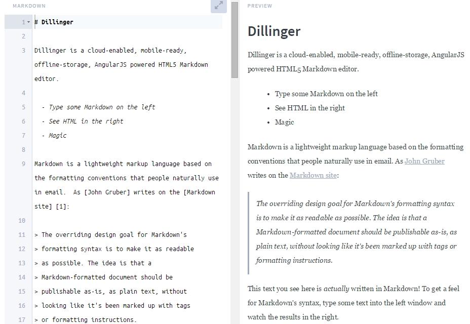 Dillinger: Editor de rebajas en línea