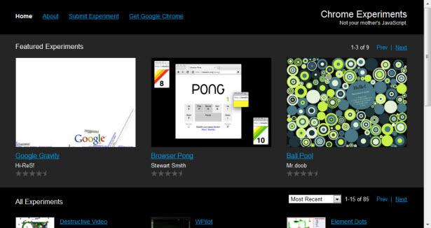 Webové stránky Experimenty Chrome.