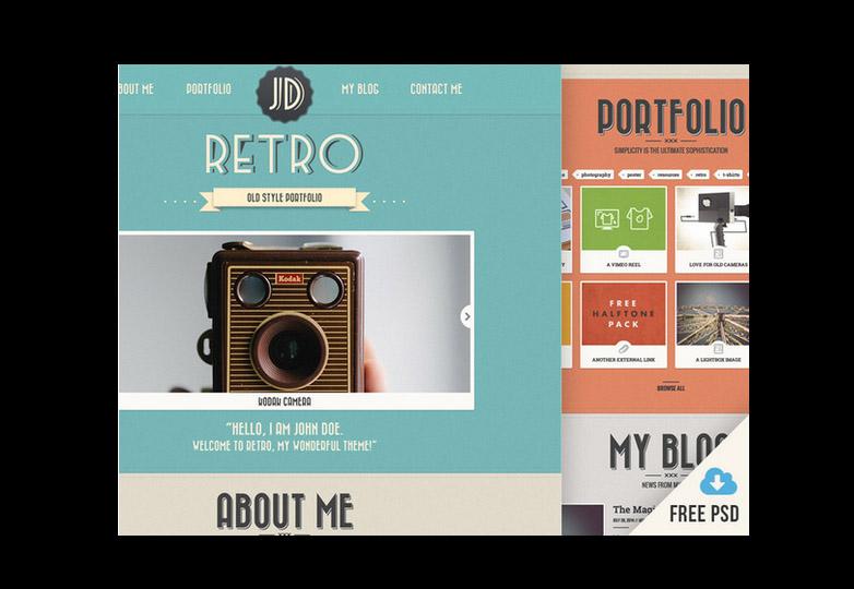 Retro portfolio PSD template