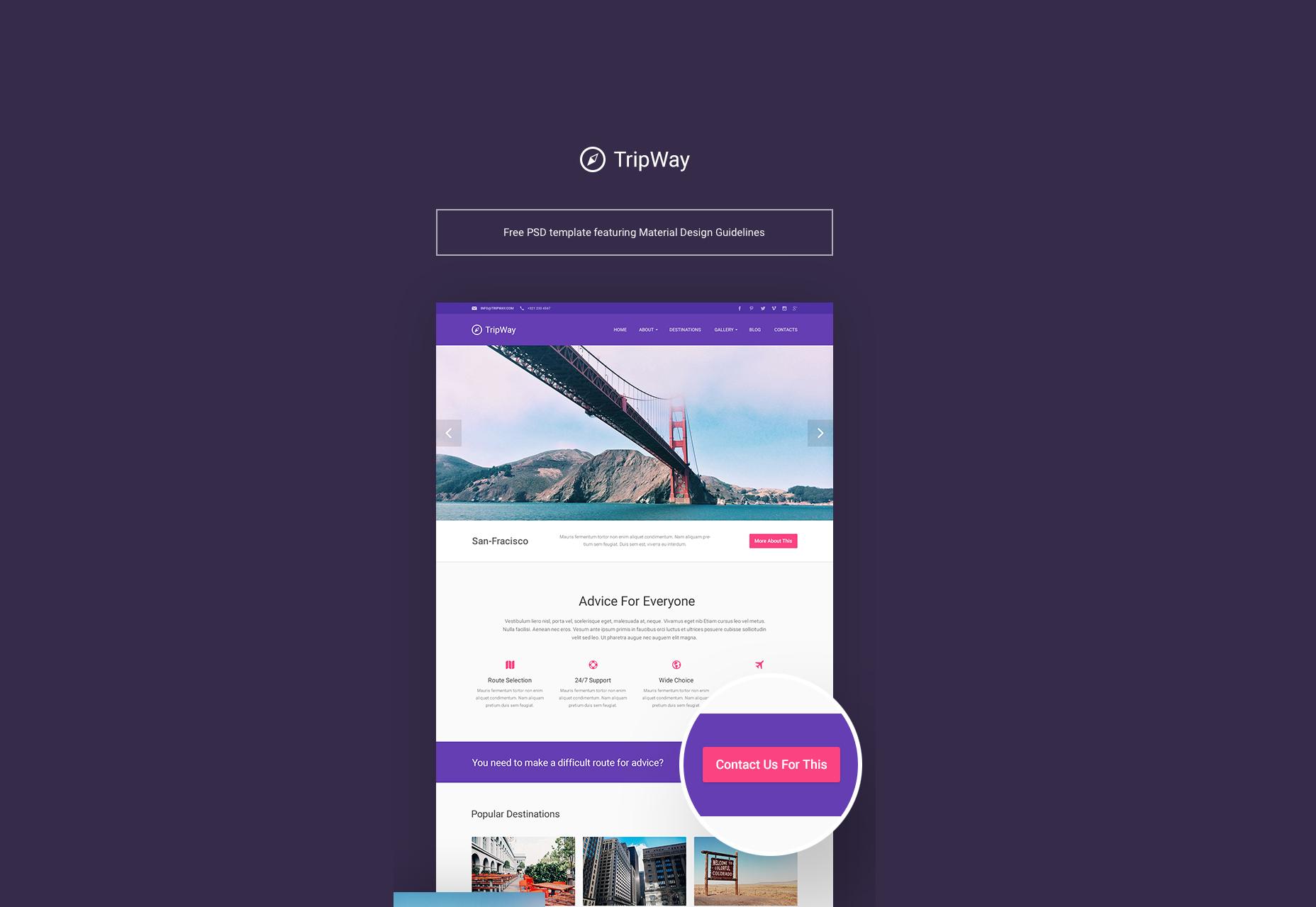 TripWay: Plantilla de PSD para viajes y aventuras