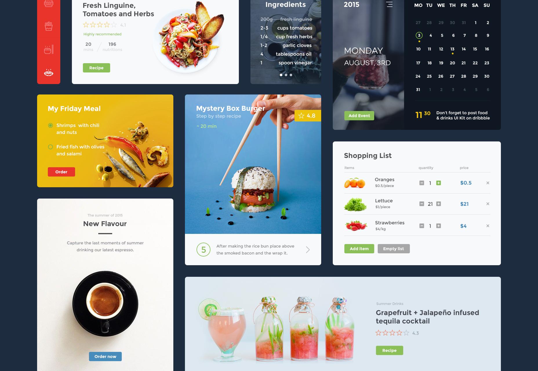 Website UI-pakket eten en drinken