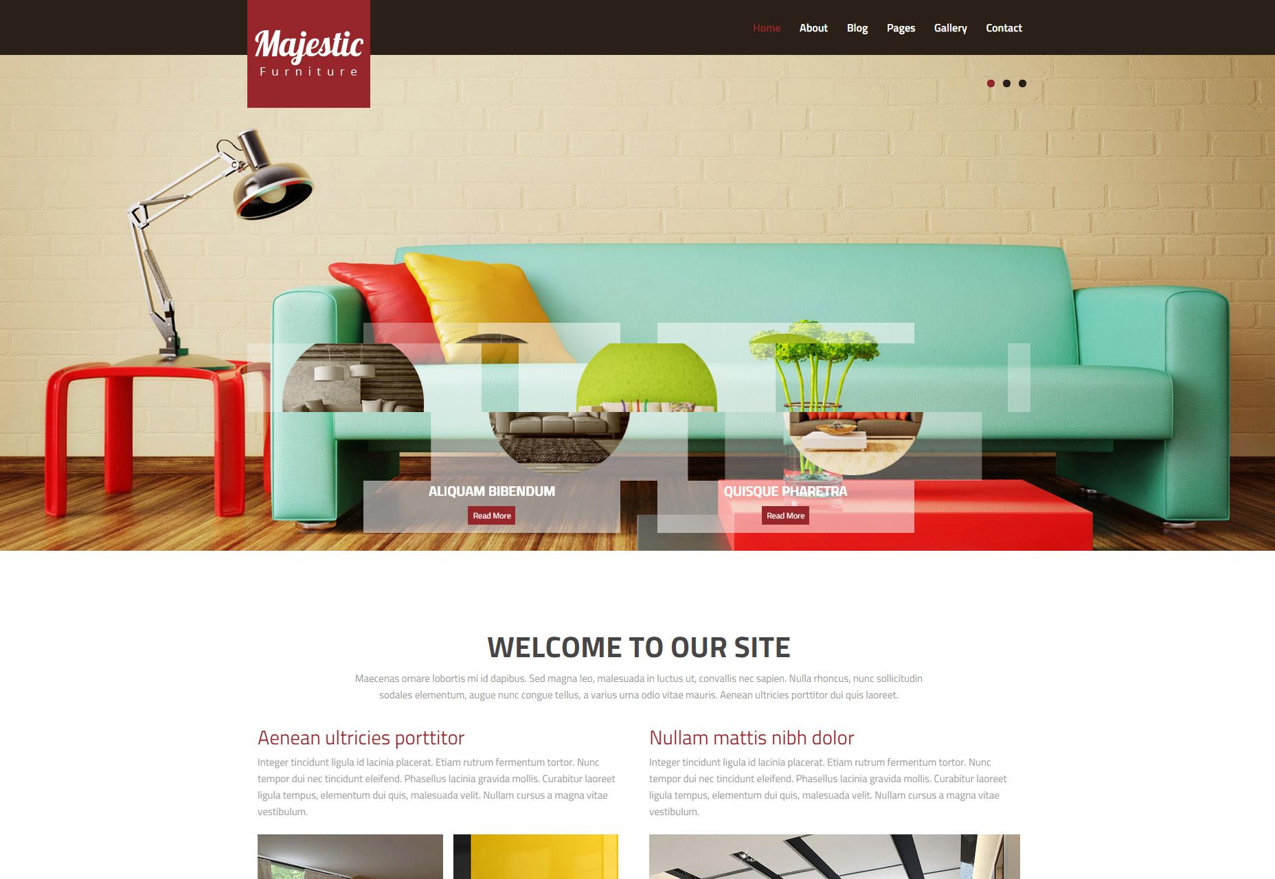 Majestic: Plantilla web HTML multipropósito de diseño de interiores