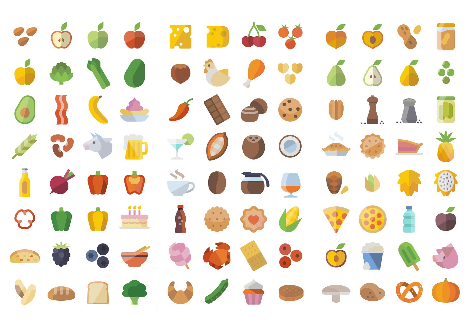 Conjunto de iconos de comida plana enorme