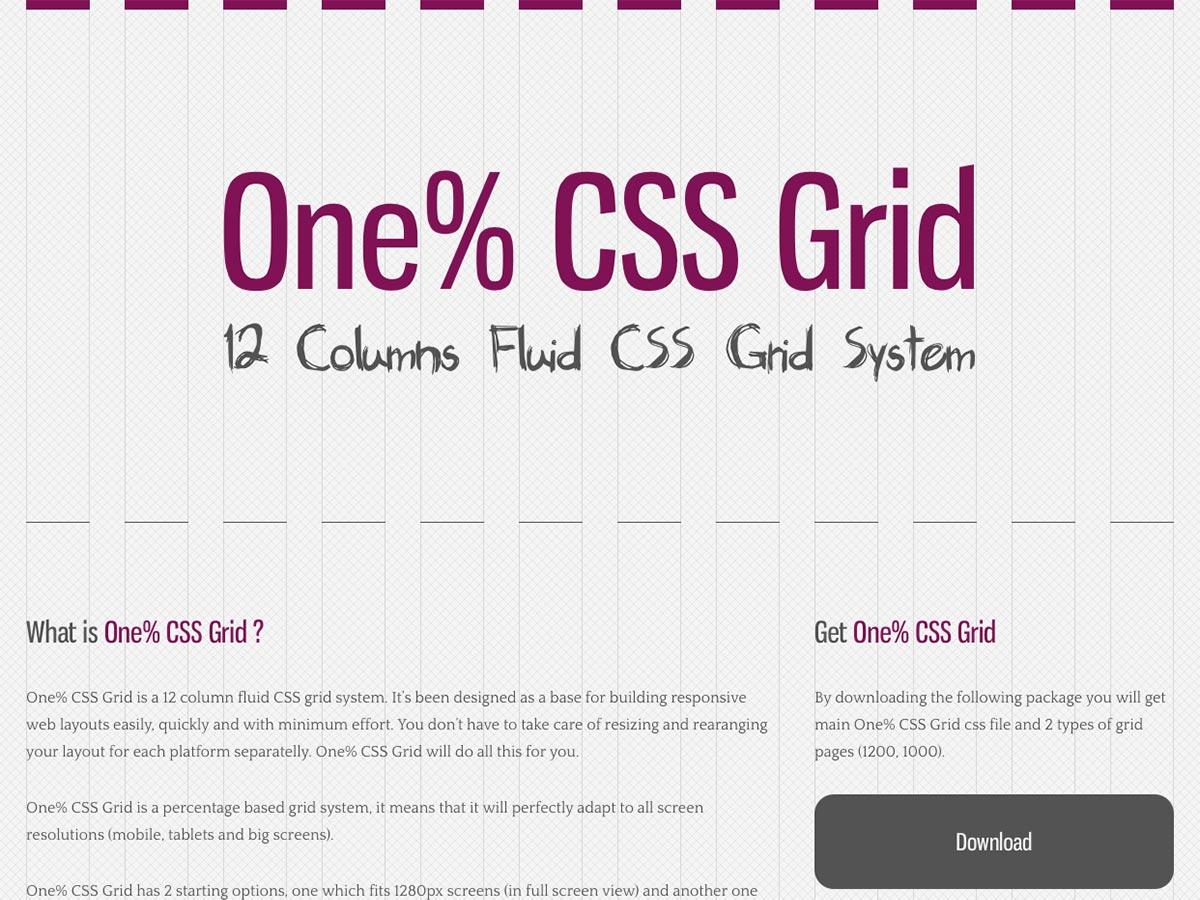 ett prosent css grid