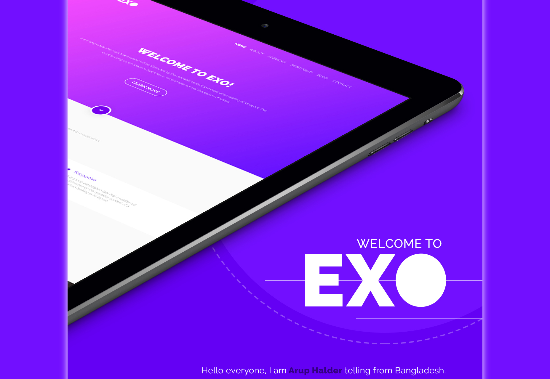 EXO: Moderní jednostránková téma PSD