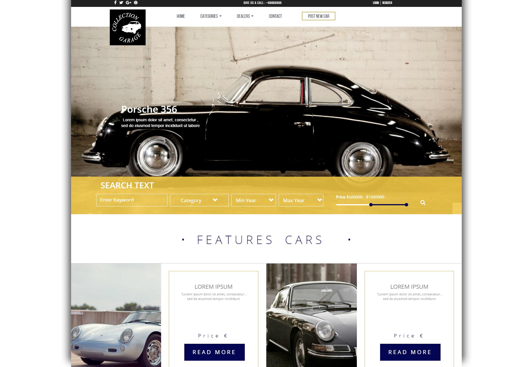 Autotalli: Car Retail Business Bootstrap -teema