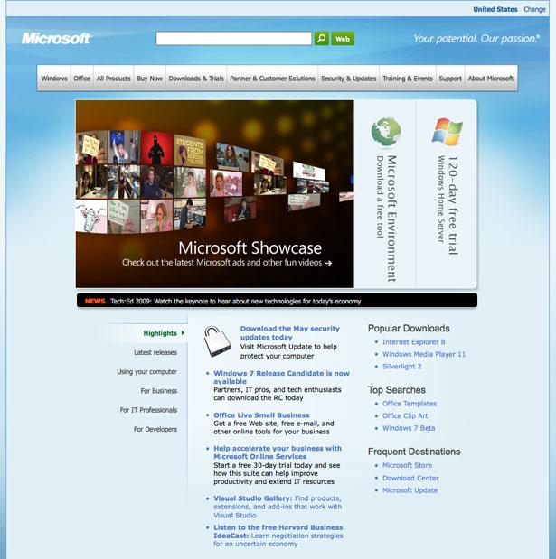 Microsoft hjemmeside
