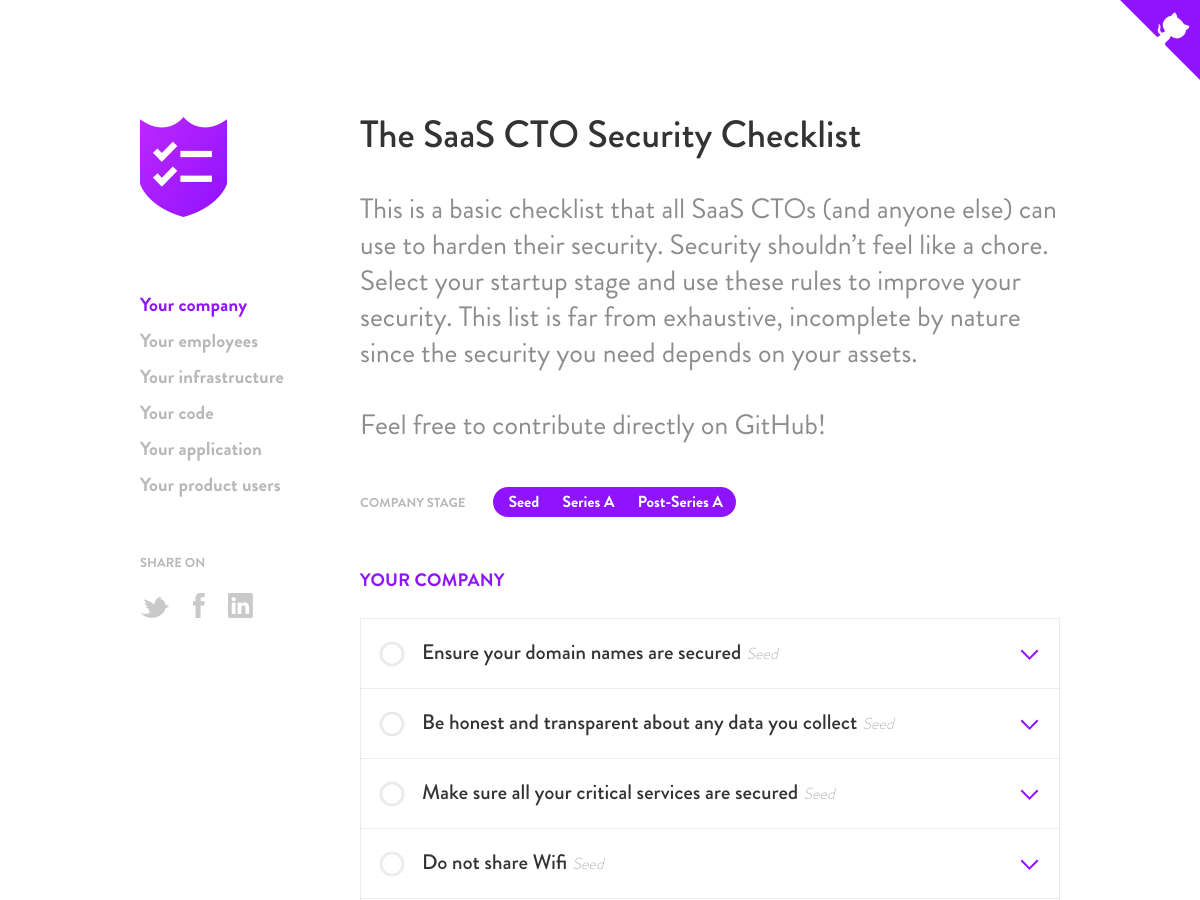 SaaS CTO Security Checlist