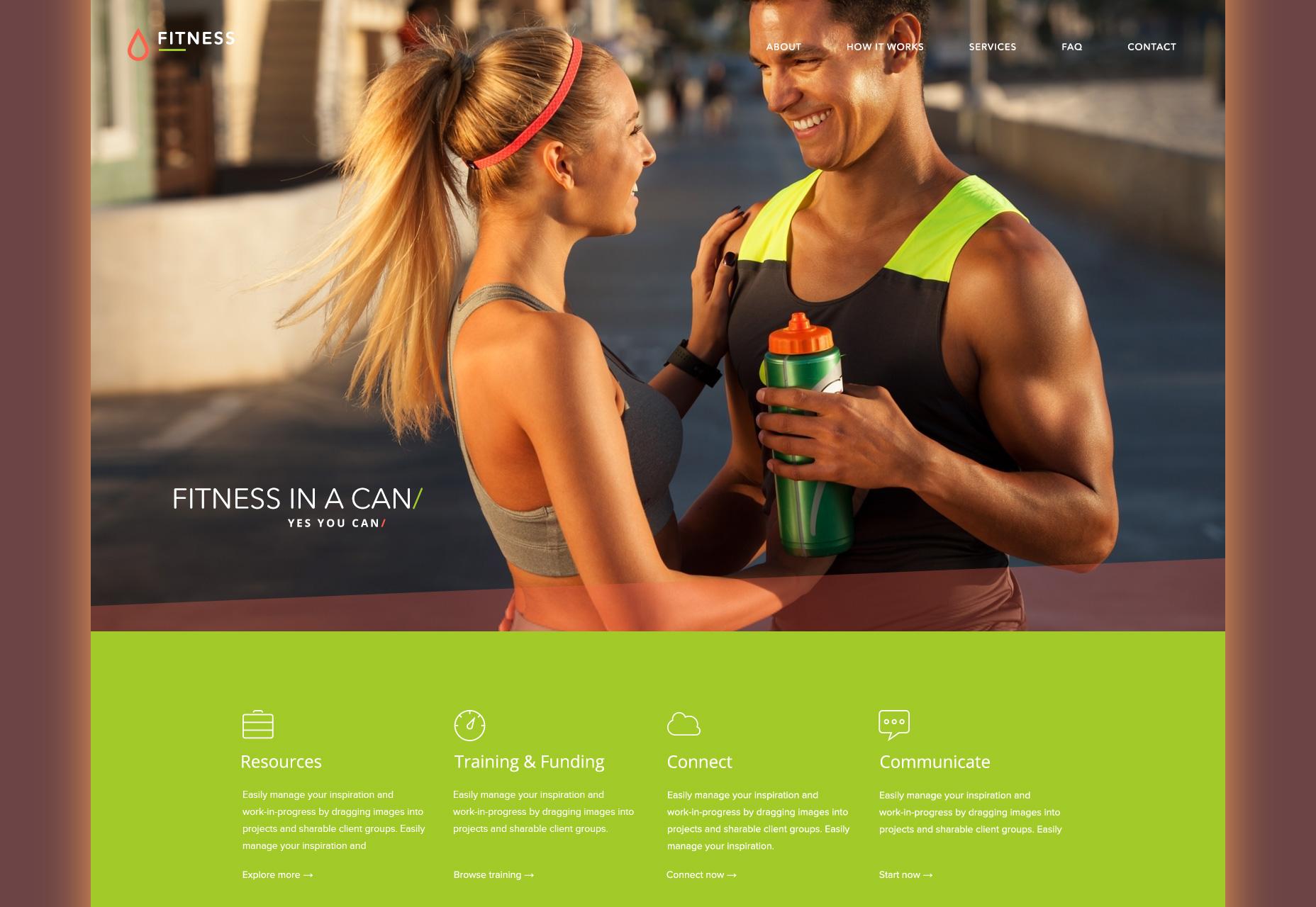 Plantilla web de PSD de Flat Fitness