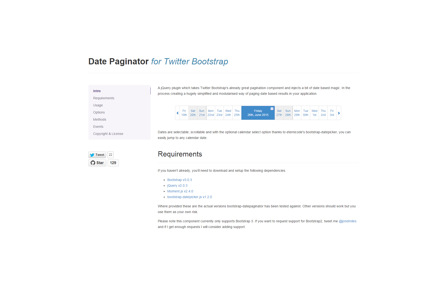 Twitter Bootstrap Date Paginator
