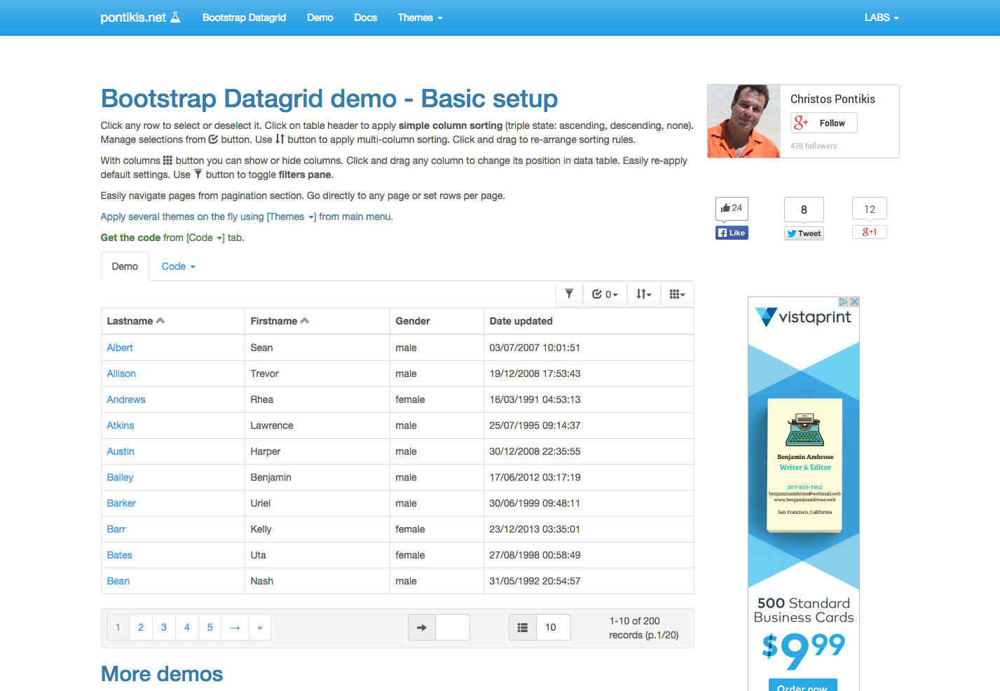 bootstrap datagrid
