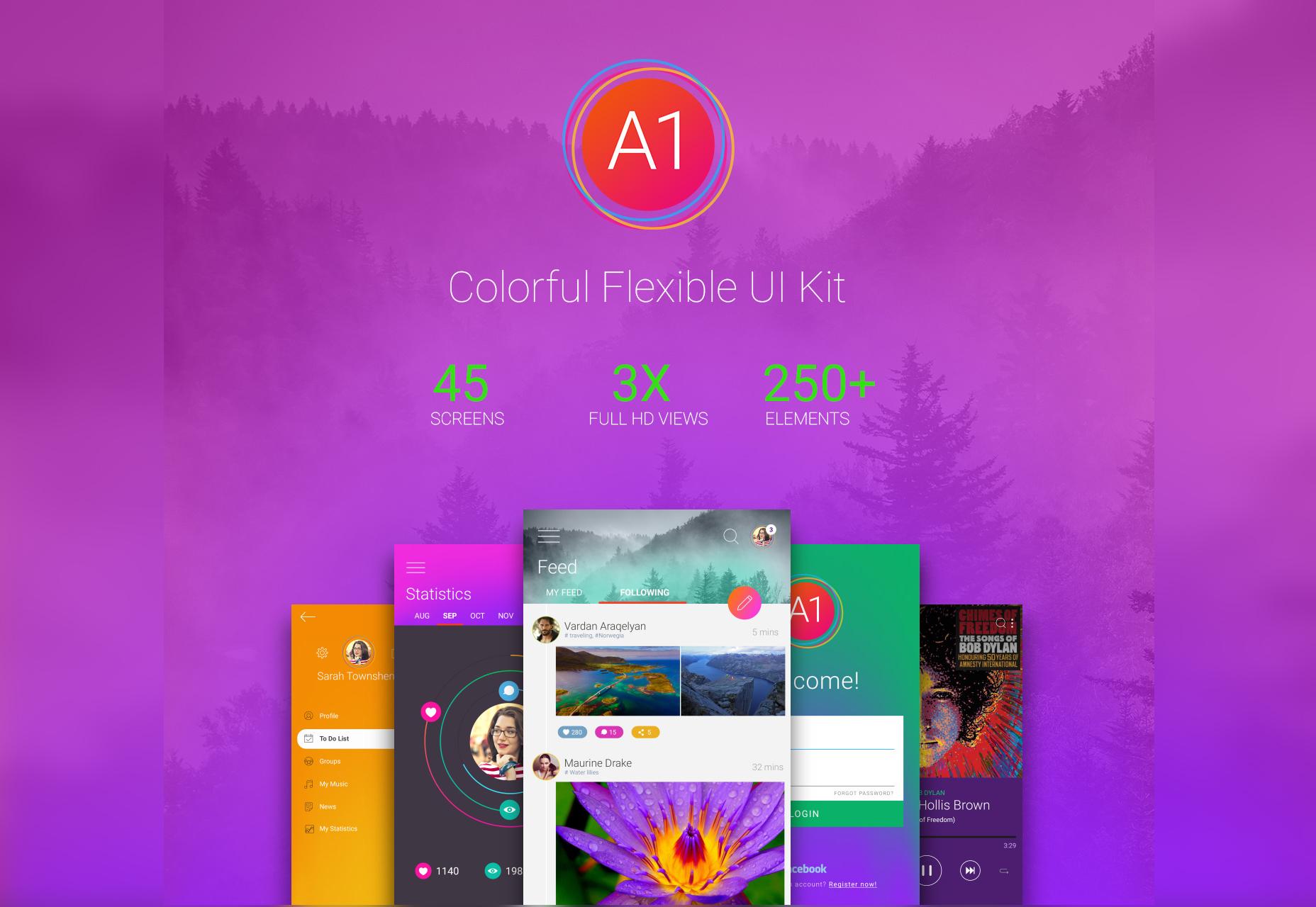 A1: kit de interfaz de usuario colorido y flexible