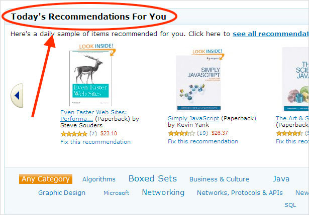 Amazon Recommended Content