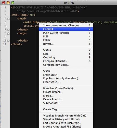 TextMate con Git Bundle instalado