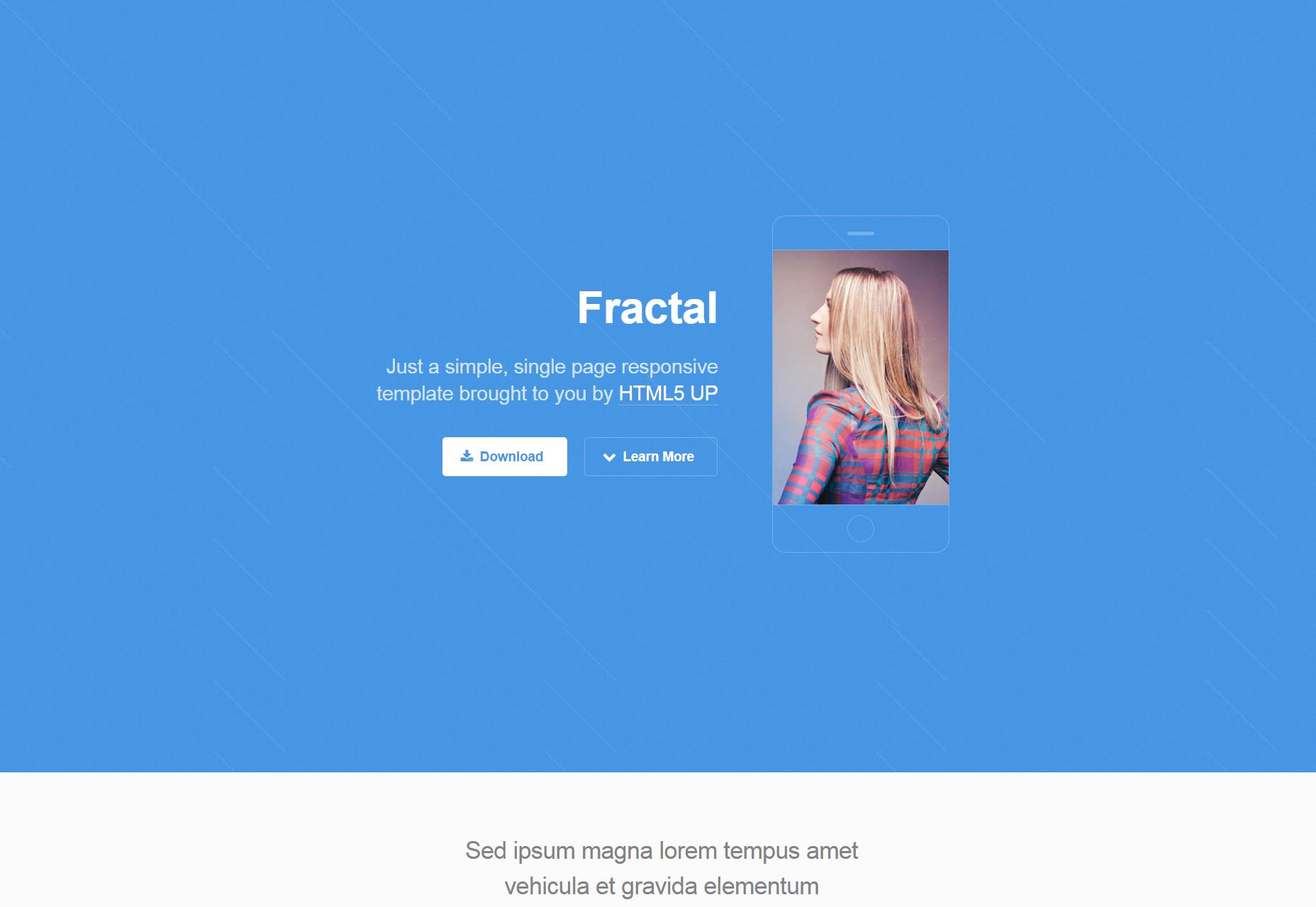 Fractal: plantilla HTML5 de respuesta única de una página