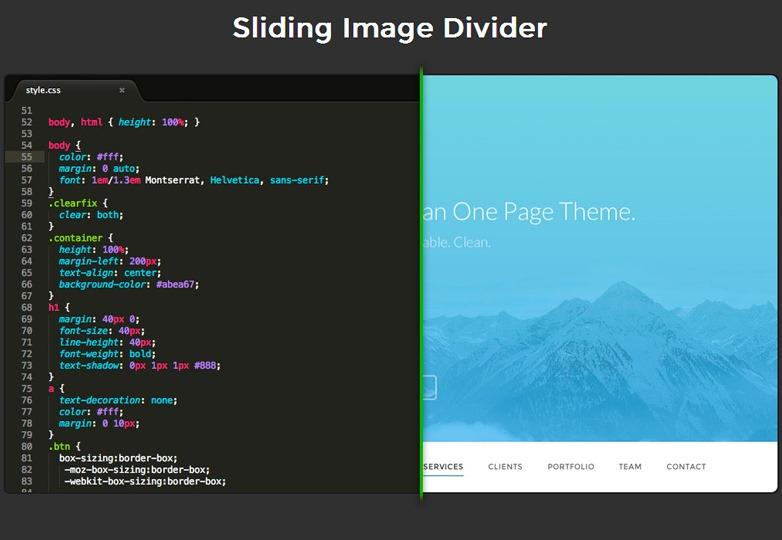 Sliding image divider