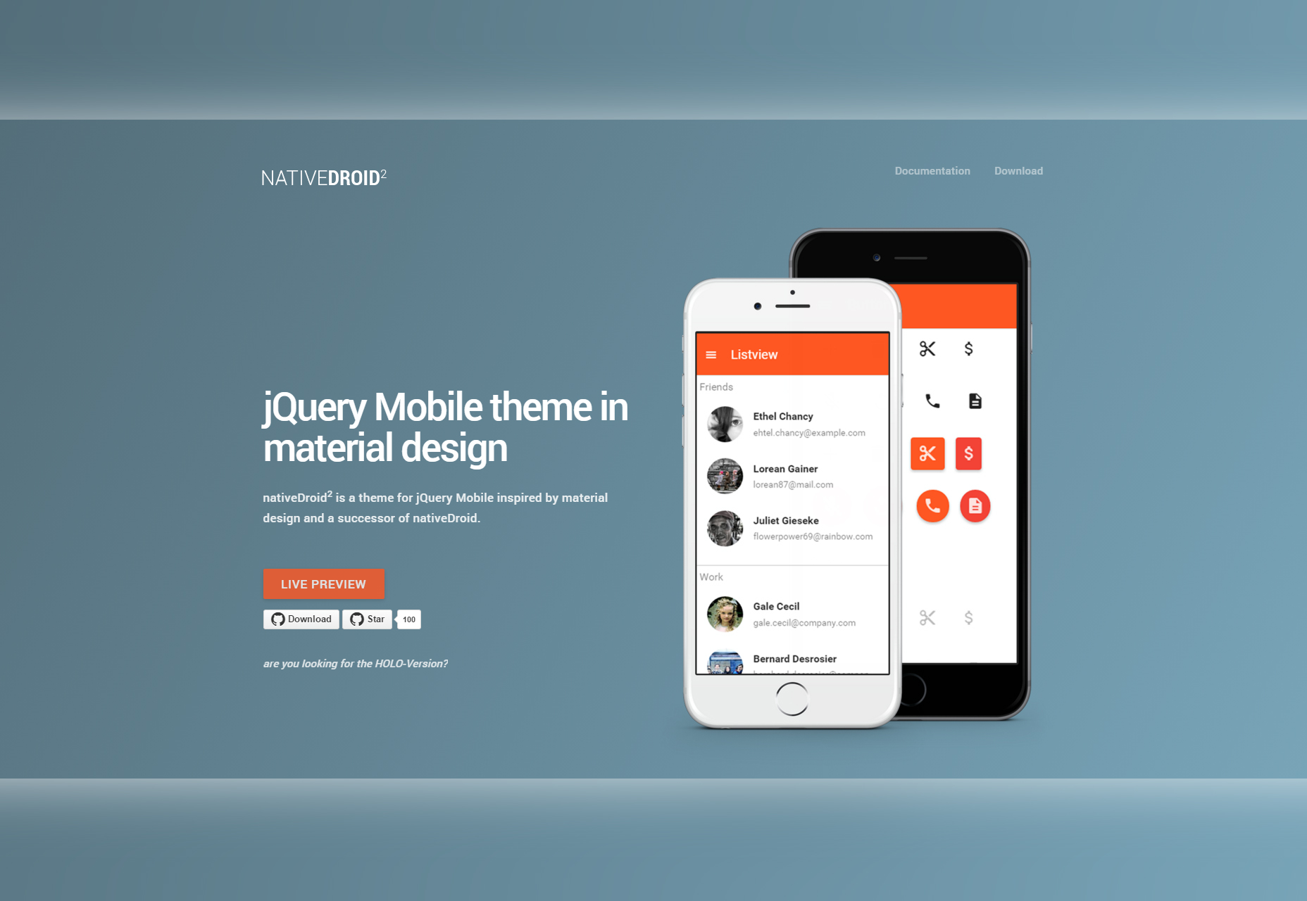 NativeDroid2: Material Design Theme para JQuery Mobile