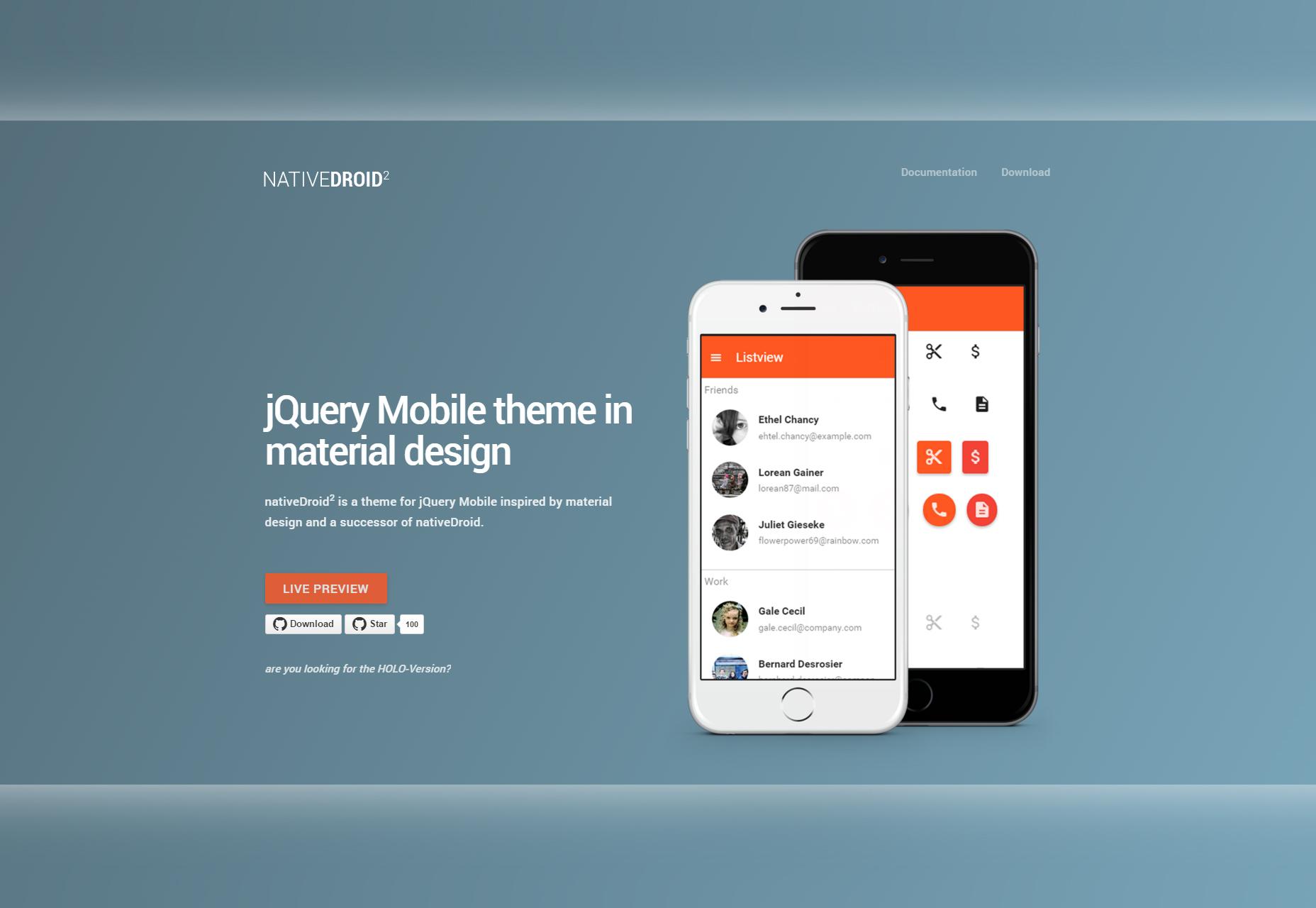 NativeDroid2: Materiaalontwerpthema voor JQuery Mobile