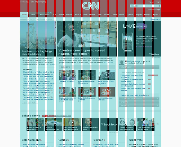 CNN.com home page grid