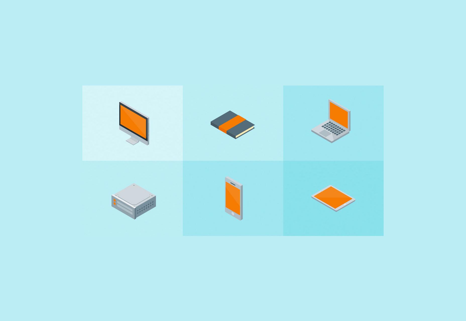 Conjunto gratis de iconos de material isométrico de Vector