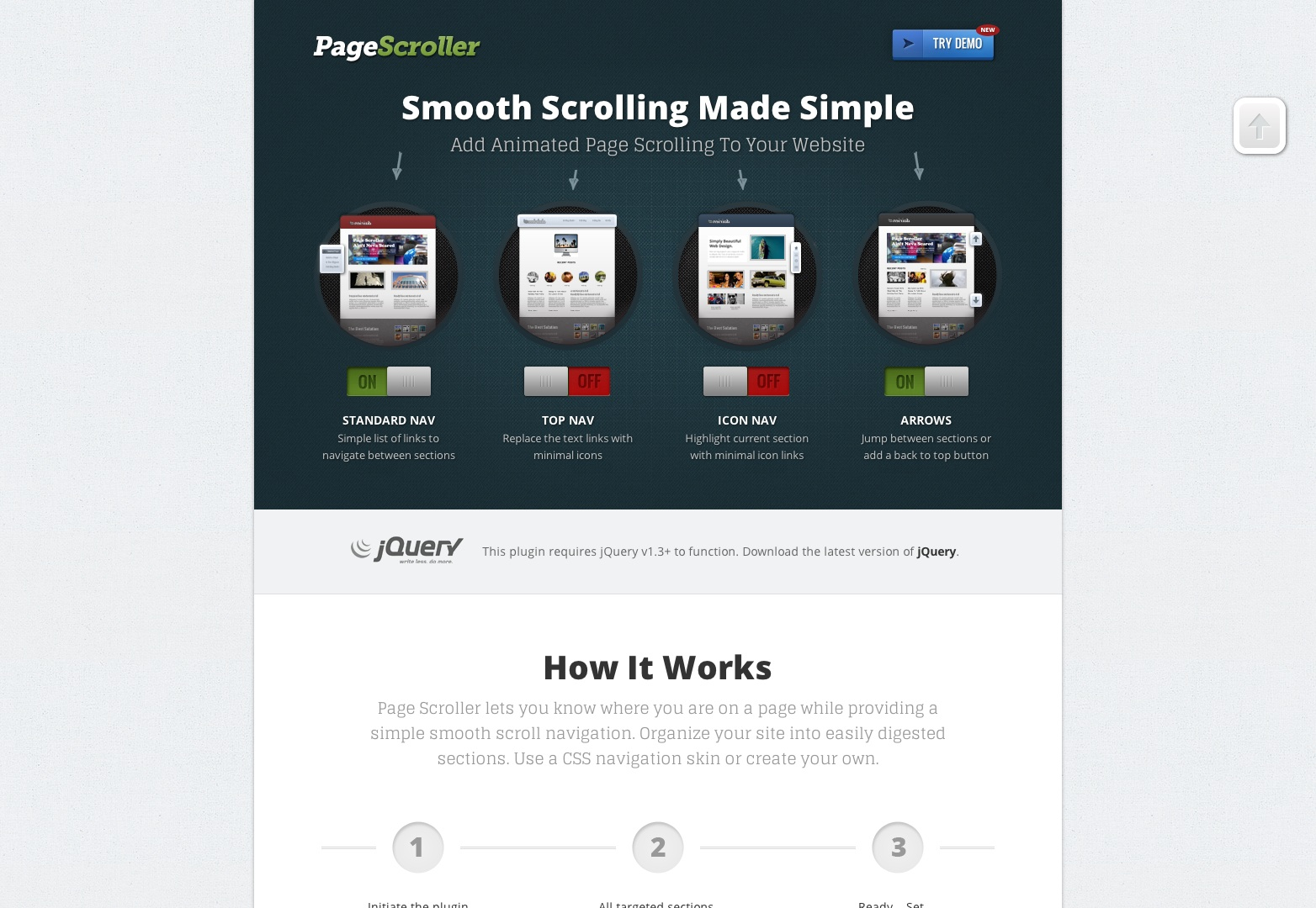 jQuery Smooth Scrolling Plugin Page Scroller