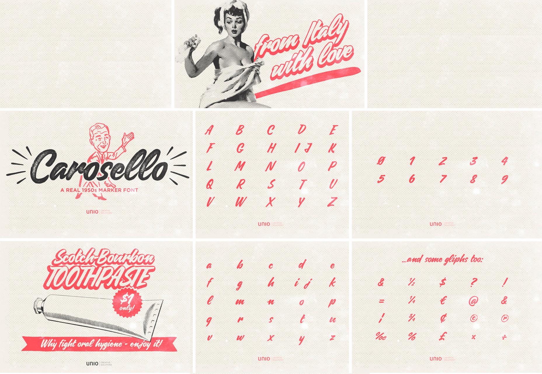 Carosello: Vintage 50's Style Poster Script Fuente