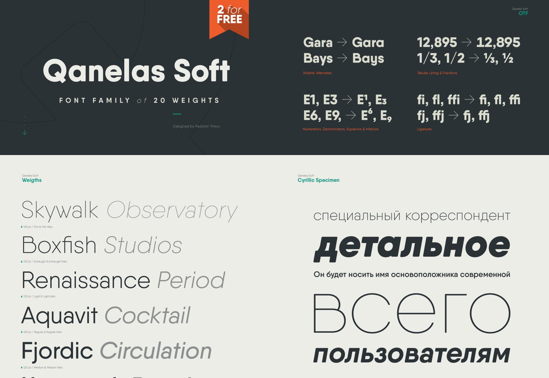 Qanelas: 20-Weight Soft Typeface