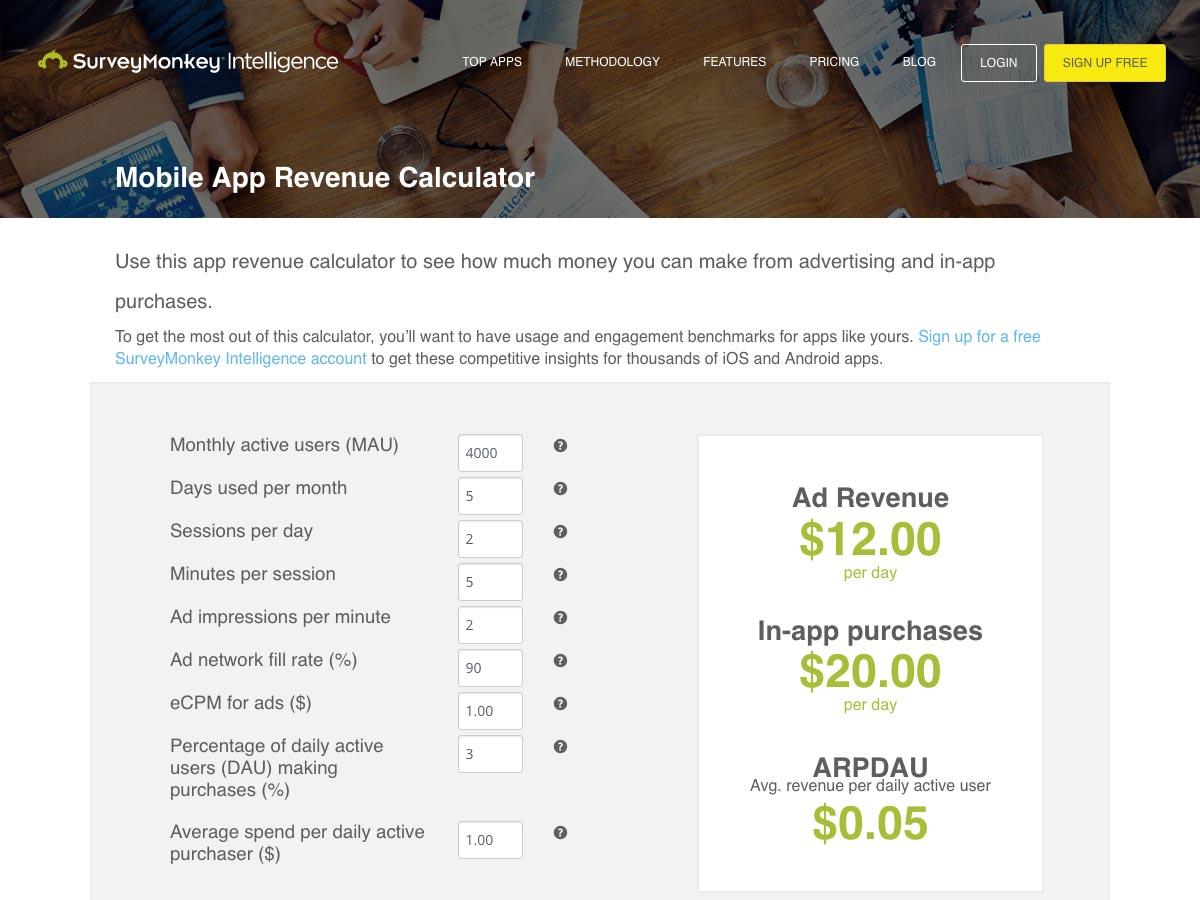 calculator voor mobiele app-opbrengst