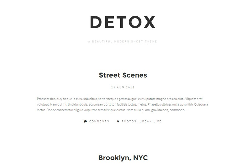 Detox Ghost theme