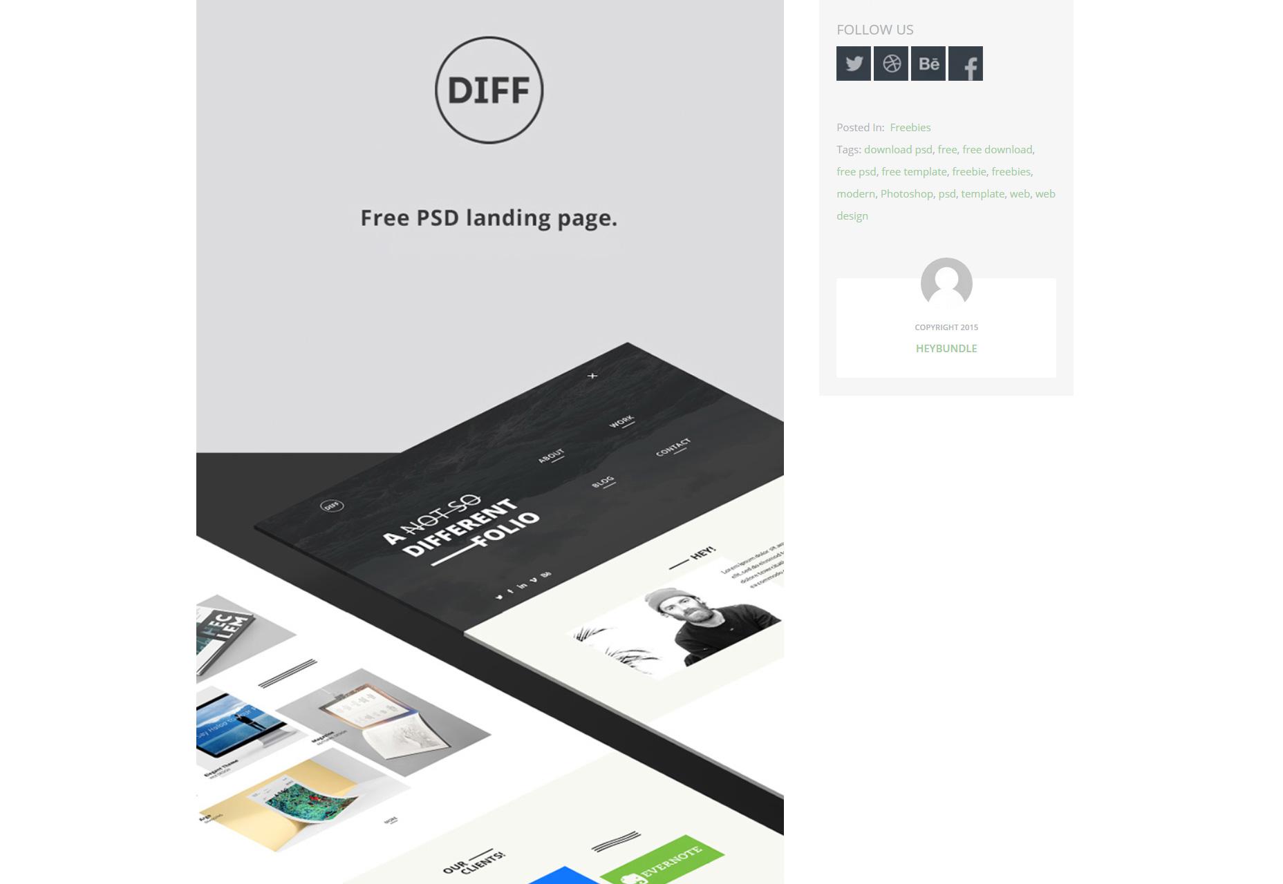 DIFF: una plantilla web de PSD de página de aterrizaje única