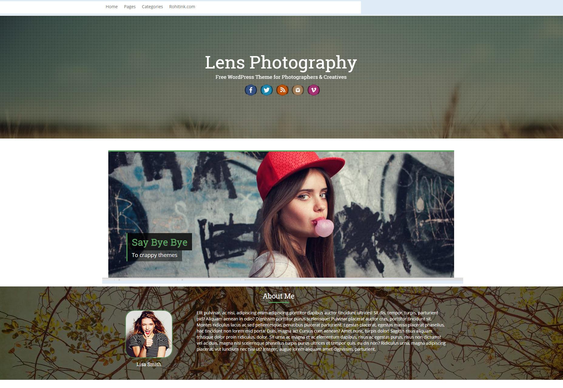 Lente: fotografía profesional Tema de WordPress