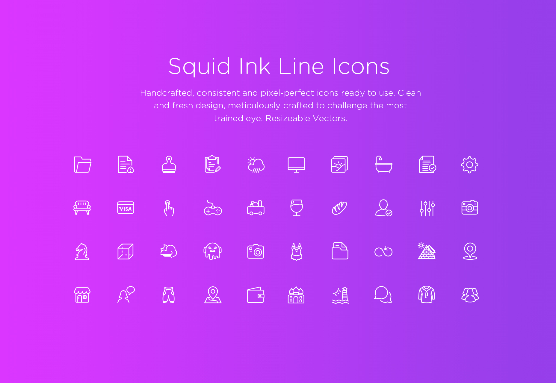 Squid Ink: Vector lijn iconen pack