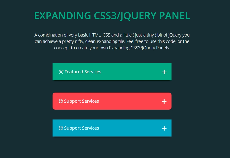 Expansión del panel CSS3 / JQuery