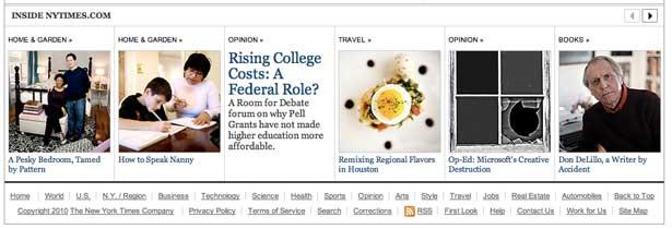 screenshot van de voettekst van de New York Time