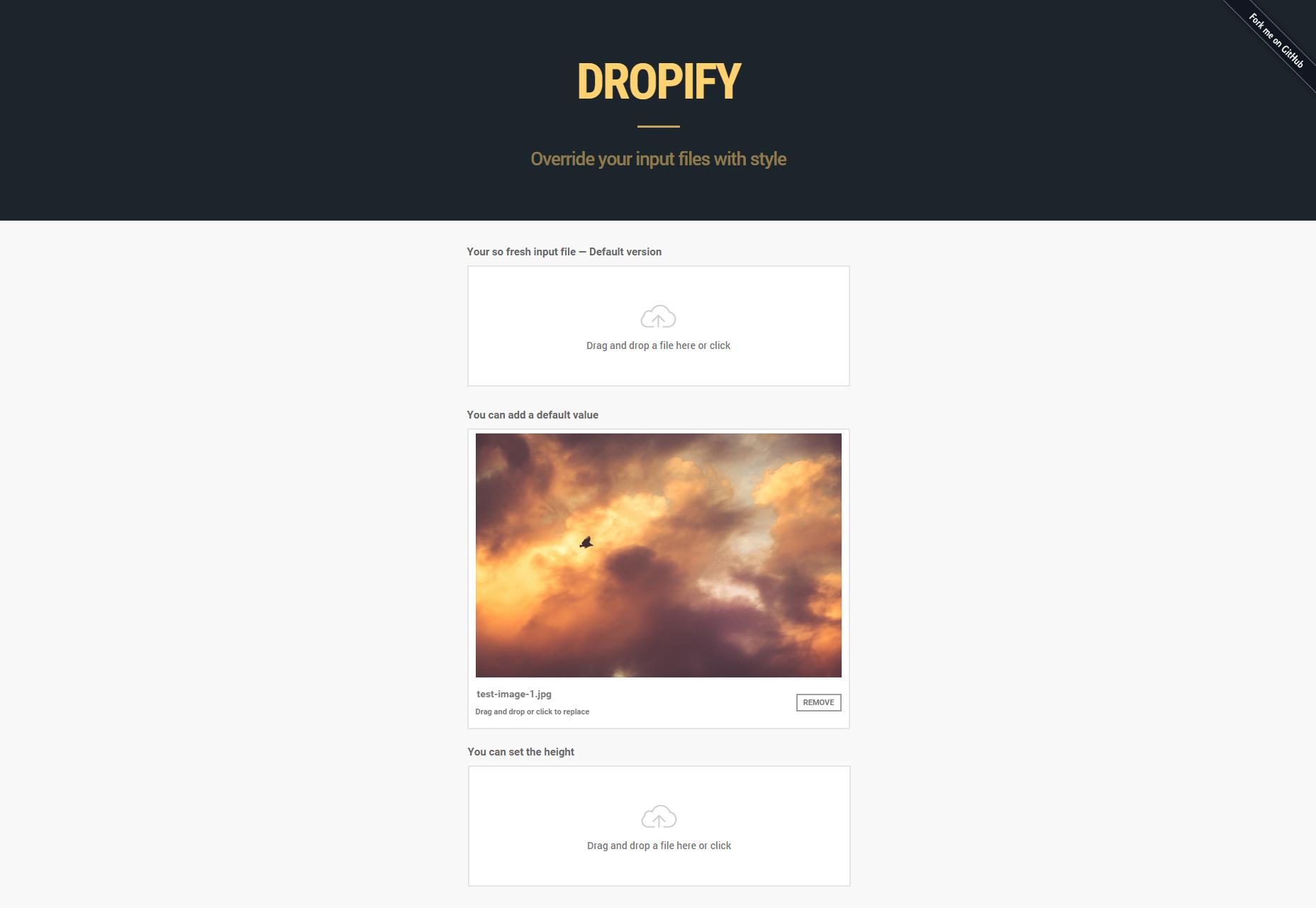Dropify: Complemento JQuery de archivos de entrada