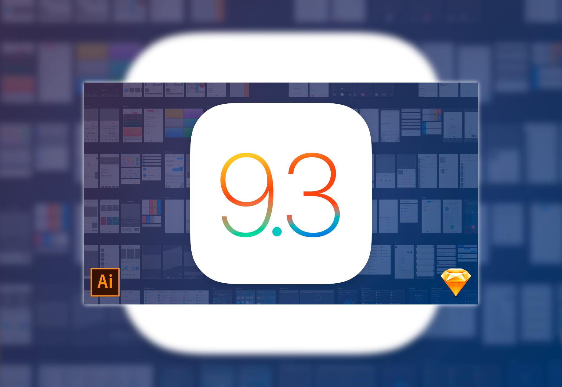 Mercurio: iOS 9.3 Sketch & Ai UI Kit