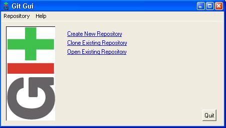 Una captura de pantalla de la GUI de Git