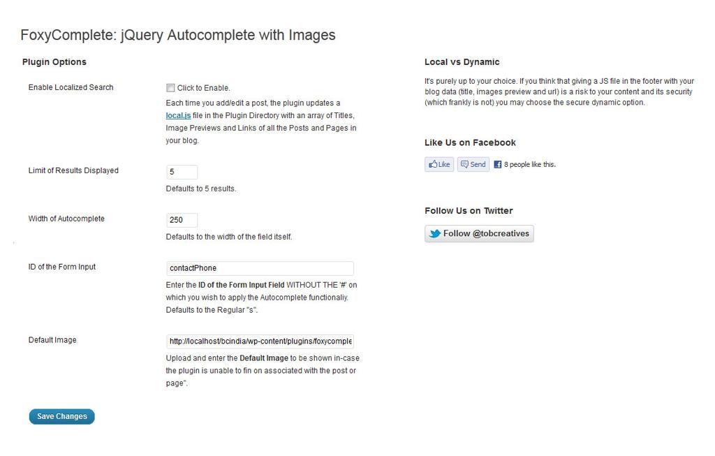 Búsqueda completa de Foxy con imágenes como un complemento de WordPress - Vista previa de la página de configuración de WordPress.