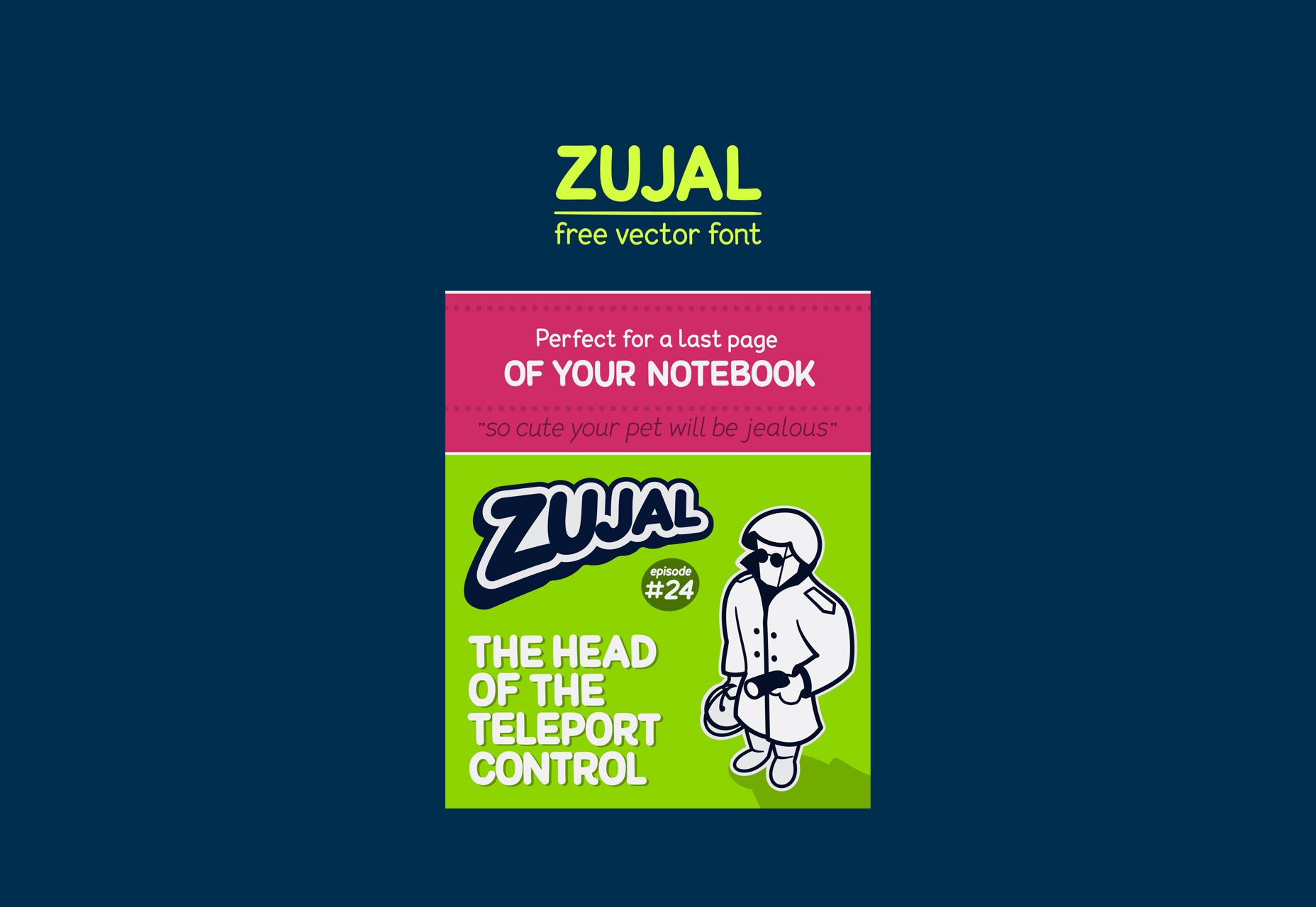 Zujal: fuente de dibujos animados gratis Vector