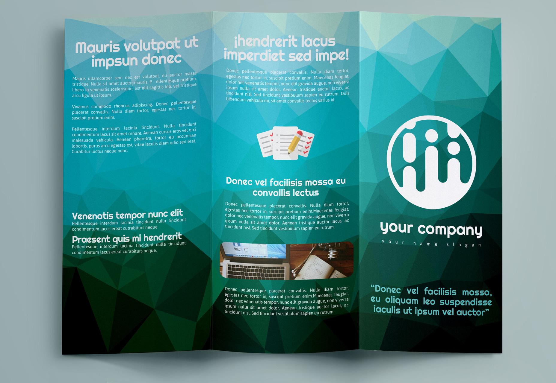 Plantilla geométrica tríptico folleto